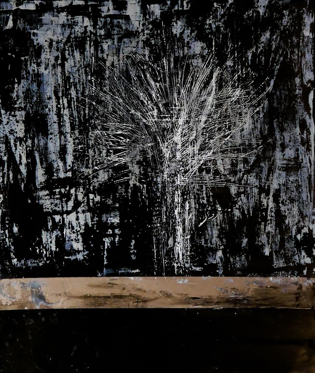 tree #4 - graffi e colore ad olio su carta fotografica analogica